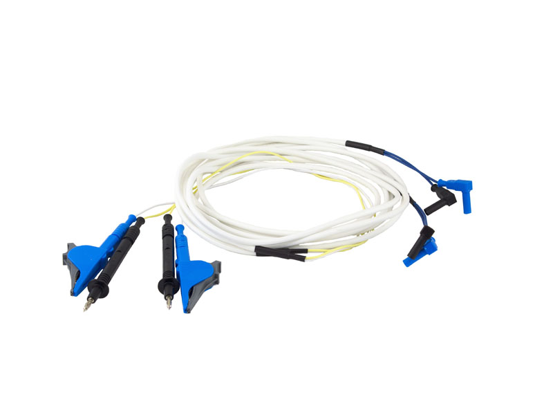 Измерительные провода длиной 3 м с разделенными токовыми зажимами типа крокодил и потенциальными щупами